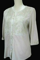 Chicos Off White Sequins Embroidery Women's Top Tunic Style 3/4 Sleeves Size 1 M