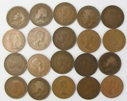 20 British Penny Lot - Victoria To Elizabeth Copper Coins From Unsearched Hoard