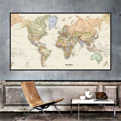 World Map Retro Canvas Print Vintage Poster Wall Background Home Decor 4824in
