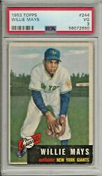 1953 Topps Baseball Willie Mays Card 244 Psa 3 Very Good Condition