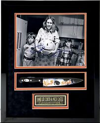 Jamie Lee Curtis And Nick Castle Signed And Framed Halloween Photo And Knife Beckett