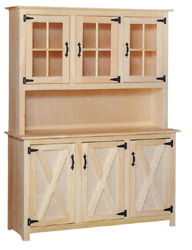 New Amish Unfinished Solid Pine | Barn Door Hutch | Glass | Modern Farmhouse