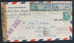 1944 Camp Sibert Al Usa Censored Airmail Cover To Montevideo Uruguay