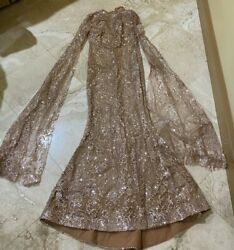 Emirates Designer Rose Gold Evening Dress w Train Sleeves. Size L. New W O Tag $245.00