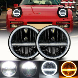 Pair Dot 7inch Round Led Headlights Bulb Headlamp Hi/low Drl Fit For Porsche 944