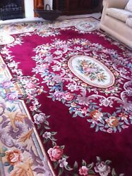 Vintage Hand Made Superwashed Chinese Room Size Carpet Rug 367 X 277cm 12and039 X 9and039