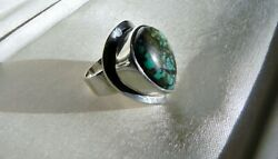 Gorgeous 13g Sterling Silver 925 Fully Hm Green Turquoise Matrix Ring N.5 Us 7