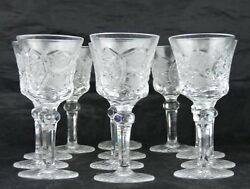 Vintage Cut Glass Or Crystal Sherry Or Footed Shot Glass Set 11 European