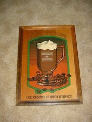 Vintage Old Bushmills Irish Whiskey Wood Sign The Finest Name In Coffee
