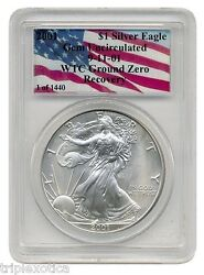2001 Pcgs Wtc Recovery 1 Of 1440 American Silver Eagle  Rare  One Coin