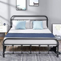 Queen Full Size Metal Bed Frame Mattress Foundation With Headboard And Footboard