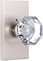 Hiemey Privacy Bed Bath Door Knob With Lock Octagon Crystal Glass Knobs Brushed