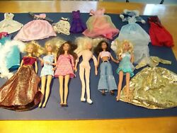 Barbie Dolls Lot Of 6 W/ Clothes, 1976 Soft Doll, Mostly 90s, 12 Dresses/outfits