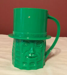 Vintage Mr. Peanut Plastic Cup Green Made In Usa