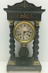 Antique French Empire Inlaid Twisted Column Portico Mantel Clock