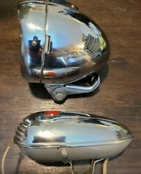 Vintage Bicycle Head Light And Horn Combo Great Condition Nr Sanyo 60's Look