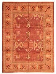 Vintage Hand-knotted Carpet 9and0395 X 12and0397 Traditional Dark Red Wool Area Rug