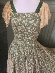 1940s Satin And Antique Lace Gown Homemade True Vintage Ooak Xxs/xs