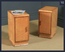 Antique English Pair Art Deco Birds Eye Maple And Walnut Bedside Cupboards Tables