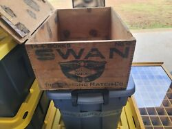 Vintage Large Diamond Match Co Swan Matches Wooden Crate Railroad Box.