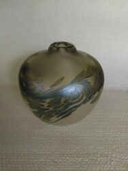 Vintage Signed Maytum Art Glass 1990 Heavy Iridescent Oil Lamp Paperweight