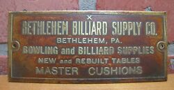 Bethlehem Billiard Supply Co Pa Old Brass Advertising Nameplate Tag Sign Bowling