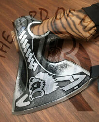 Ubr Custom Handmade 440c Carbon Steel Etched Axe With Sheath Best Gift For Men