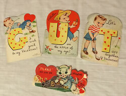 Vintage 1950s Valentine Cards Lot Of 4 Used A-meri-card Made In Usa So Sweet