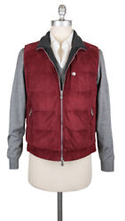 4745 Brunello Cucinelli Red Reversible Suede Leather Vest - S/s - Nm