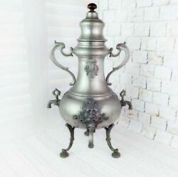 Vintage Beautifull A Rare Samovar For 3 Taps Bouillotte Tin Germany Hand Carved