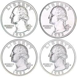 1993 P D S S Washington Quarter Year Set Silver And Clad Proof And Bu Us 4 Coin Lot
