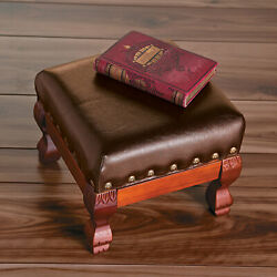 Foot Stool Fine Brown Wood Faux Leather.