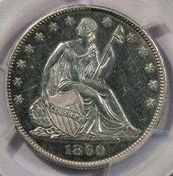 1860-o 1860 Seated Liberty Half Dollar Pcgs Unc Detail Pl Proof Mirrors Wow