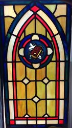 Vintage Stained Glass Window With Cross And Bible From Old Church 15andrdquo X 29andrdquo
