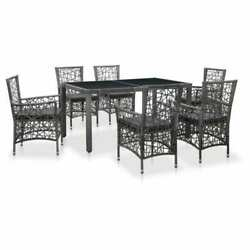 7 Piece Outdoor Patio Furniture Garden Dining Table Cushioned Chairs Set Grey Uk
