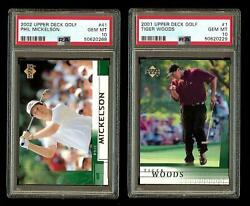 Tiger Woods And Phil Mickelson 2001 2002 Upper Deck Golf Rc Cards 1 And 41 Psa 10