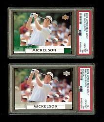 Phil Mickelson X2 2002 Upper Deck Golf Rc Rookie Card And Silver 41 Psa 10