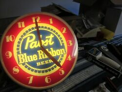 Pabst Blue Ribbon Beer Old Light Up Clock Sign Dome Face Pbr Bar Man Cave Pub