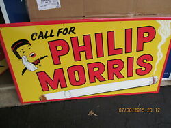 Philip Morris Embossed Cigarette Large Metal Sign New Old Stock Stout Sign 41x23