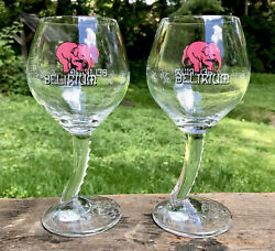 Pair Of Delirium Tremens 25 Cl Etched Flying Elephants Beer Chalice Glasses, New