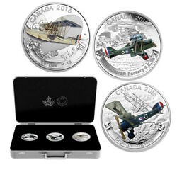 Wwi- Aircraft Of The First World War Set- 3 Coins X 1 Ounce- Fine Silver .999