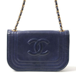 Auth Coco Mark Chain Shoulder Womenand039s Leather Shoulder Bag Navy 436570