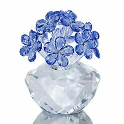 Crystal Flower Figurines Forget-me-not Glass Ornament Paperweight Blue