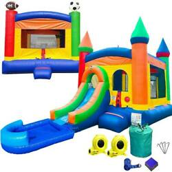 Inflatable Sports Bounce House Rainbow Water Slide Splash Pool Combo And Blower