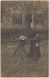 Wwi Yeoman Navy Girl In Uniform Bicycling Antique Outdoor Real Photo Postcard Rp
