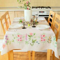 Finest Floral Coloring Rectangle Easter Tablecloth Non-iron Stain Resistant T...