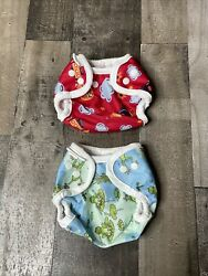 2 Newborn Baby Cloth Diaper Covers Bummis Super Snap 7-10lbs Frogs And Rockets