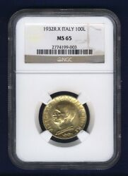 Italy 1932-r Yr.x 100 Lire Gem Uncirculated Gold Coin, Ngc Certified Ms65