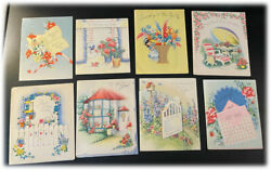 8x Lot Vintage Wallace Brown Buzza Cardozo Get Well Rare Greetings Cards