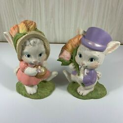 Vintage Hand Painted Plaster Chalkware Pair Mr And Mrs. Easter Bunny Figurines